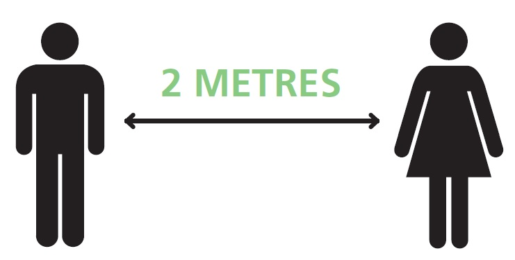 Keep 2 metres distance